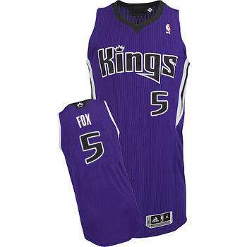 Kings #5 De'Aaron Fox Purple Road Stitched NBA Jersey