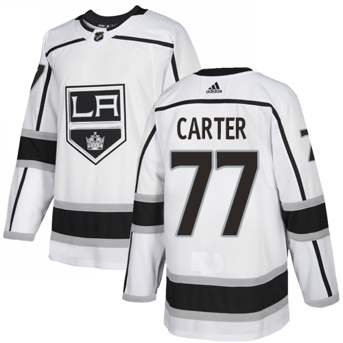 Kings #77 Jeff Carter White Road Authentic Stitched Hockey Jersey