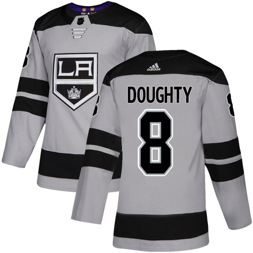 Kings #8 Drew Doughty Gray Alternate Authentic Stitched Hockey Jersey