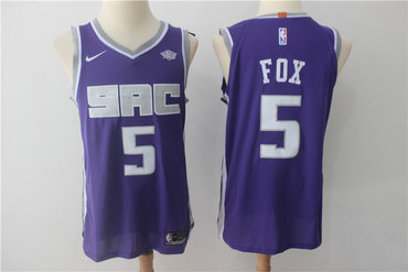Kings 5 De'Aaron Fox Purple Nike Authentic Jersey