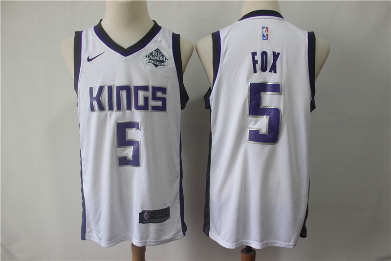 Kings 5 De'Aaron Fox White Nike Swingman Jersey