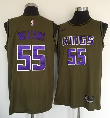 Kings 55 Jason Williams Olive Nike Swingman Jersey