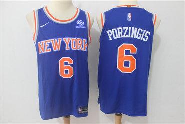 Knicks 6 Kristaps Porzingis Blue Nike Authentic Jersey