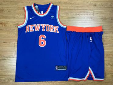 Knicks 6 Kristaps Porzingis Blue Nike Swingman Jersey(With Shorts)