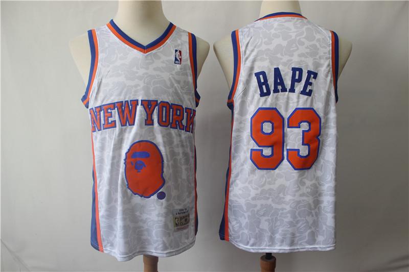 Knicks 93 Bape Gray 1998-99 Hardwood Classics Jersey