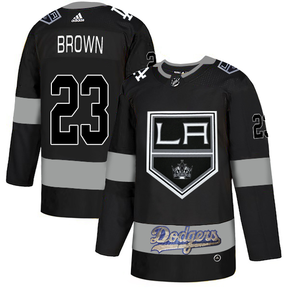 LA Kings With Dodgers 23 Dustin Brown Black Adidas Jersey