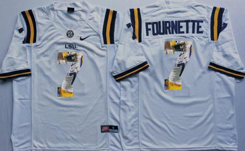LSU Tigers #7 Leonard Fournette White Player Fashion Stitched NCAA Jersey