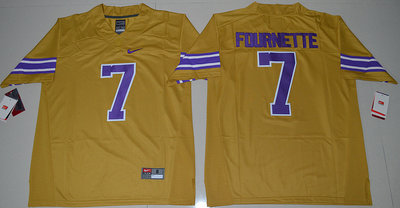 LSU Tigers 7 Leonard Fournette Yellow College Jersey