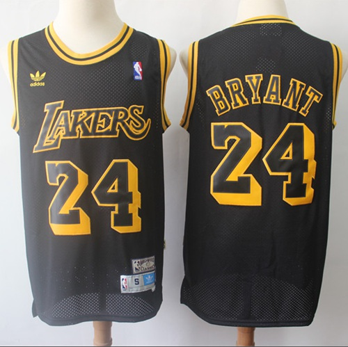 Lakers #24 Kobe Bryant Black Throwback Stitched Basketball Jersey