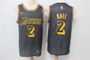 Lakers 2 Lonzo Ball Black Nike City Edition Swingman Jersey