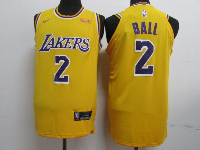 Lakers 2 Lonzo Ball Gold 2018-19 Nike Authentic Jersey