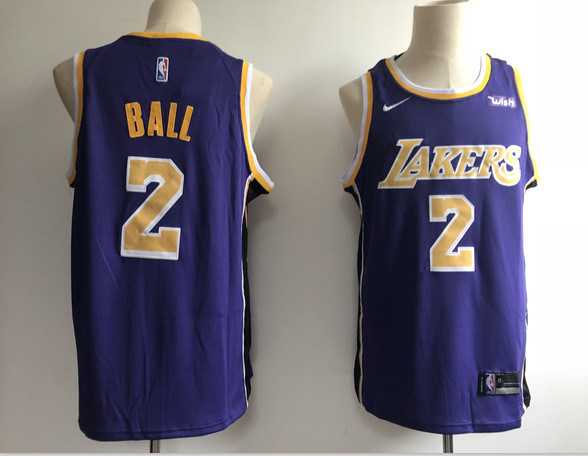 Lakers 2 Lonzo Ball Purple 2018-19 Nike Swingman Jersey