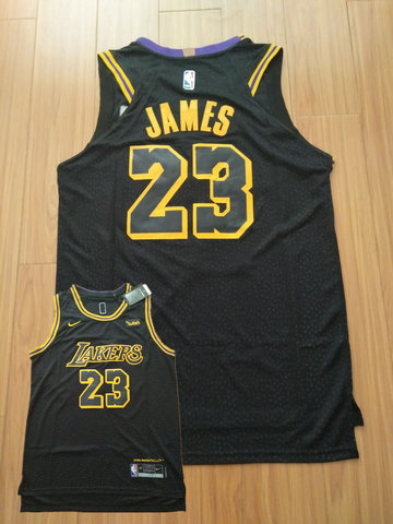 Lakers 23 Lebron James Black City Edition Nike Authentic Jersey