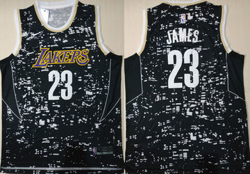 Lakers 23 Lebron James Black City Luminous Nike Swingman Jersey