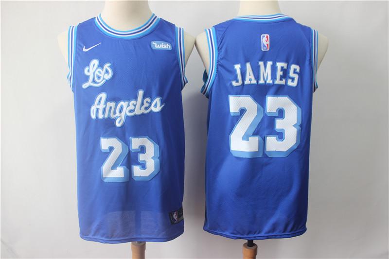 Lakers 23 Lebron James Blue Throwback Nike Swingman Jersey