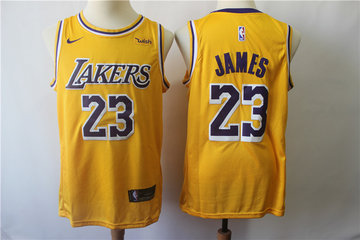 Lakers 23 Lebron James Gold 2018-19 Nike Swingman Jersey