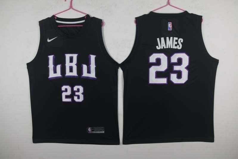 Lakers 23 Lebron James LBJ Black Nike Swingman Jersey