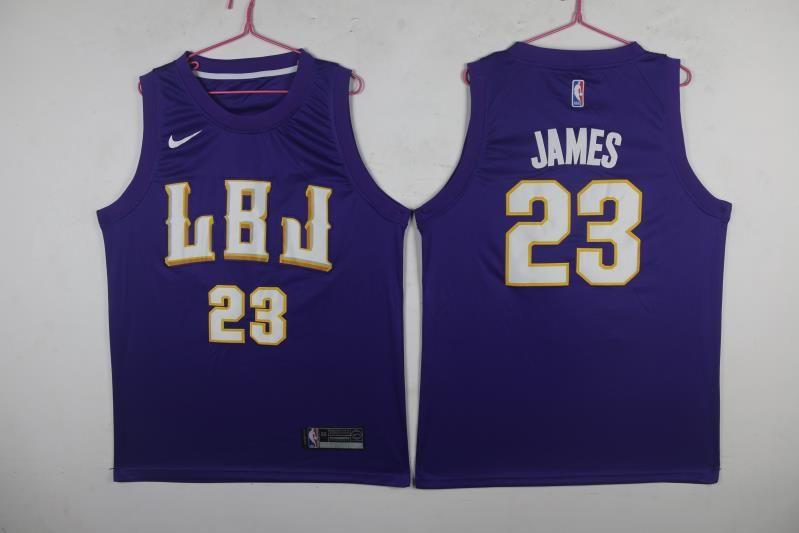 Lakers 23 Lebron James LBJ Purple Nike Swingman Jersey