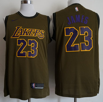 Lakers 23 Lebron James Olive Nike Swingman Jersey