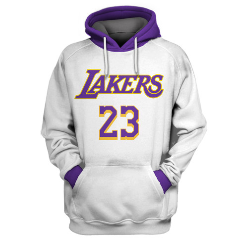 Lakers 23 Lebron James White All Stitched Hooded Sweatshirt