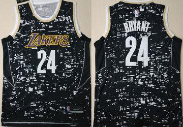 Lakers 24 Kobe Bryant Black City Luminous Nike Swingman Jersey