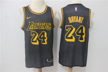 Lakers 24 Kobe Bryant Black Nike City Edition Swingman Jersey