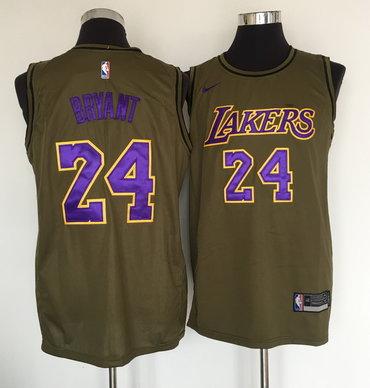 Lakers 24 Kobe Bryant Olive Nike Swingman Jersey