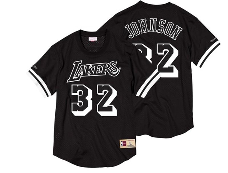 Lakers 32 Magic Johnson Black Short Sleeve Mitchell & Ness Jersey
