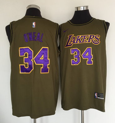 Lakers 34 Shaquille O'Neal Olive Nike Swingman Jersey