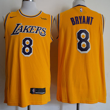 Lakers 8 Kobe Bryant Gold 2018-19 Nike Swingman Jersey