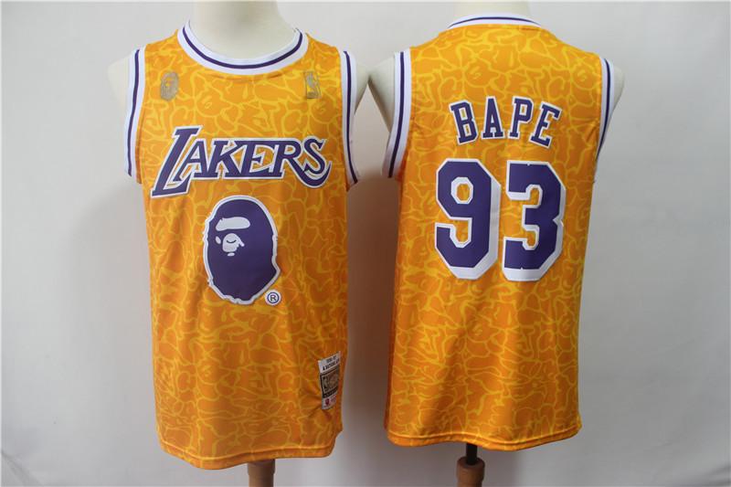 Lakers 93 Bape Yellow Hardwood Classics Jersey