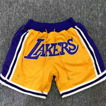Lakers Yellow Retro Mesh Shorts