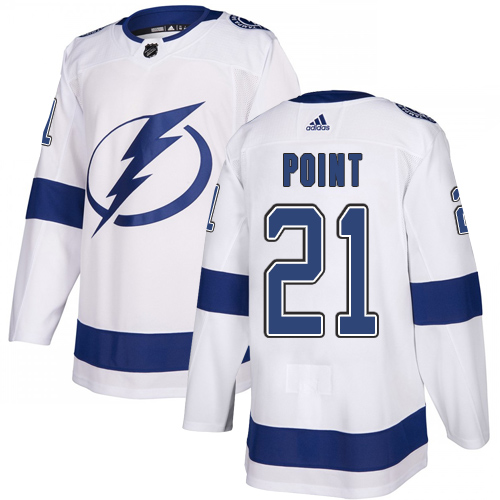 Lightning #21 Brayden Point White Road Authentic Stitched Hockey Jersey