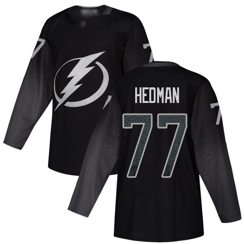 Lightning #77 Victor Hedman Black Alternate Authentic Stitched Youth Hockey Jersey