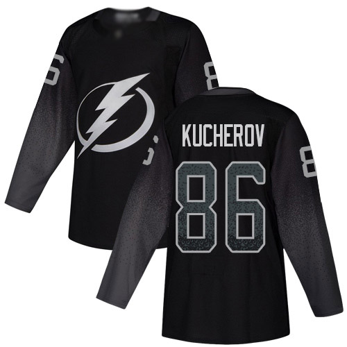 Lightning #86 Nikita Kucherov Black Alternate Authentic Stitched Youth Hockey Jersey