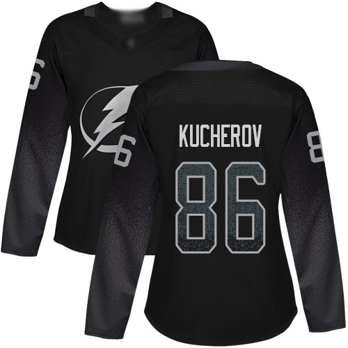 Lightning #86 Nikita Kucherov Black Alternate Authentic Women's Stitched Hockey Jersey