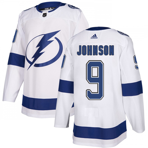 Lightning #9 Tyler Johnson White Road Authentic Stitched Hockey Jersey
