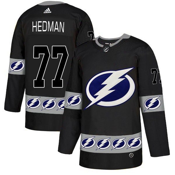 Lightning 77 Victor Hedman Black Team Logos Fashion Adidas Jersey