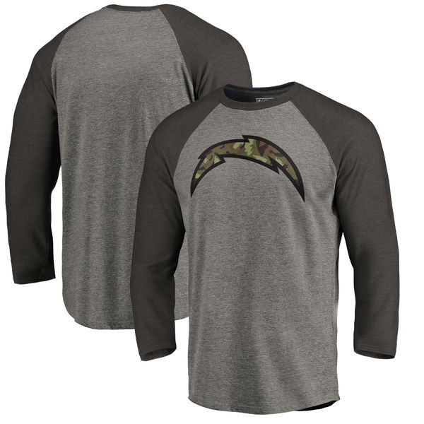 Los Angeles Chargers NFL Pro Line By Fanatics Branded Black Gray Tri Blend 34-Sleeve T-Shirt