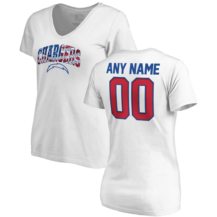 Los Angeles Chargers NFL Pro Line By Fanatics Branded Women's Any Name & Number Banner Wave V Neck T-Shirt White
