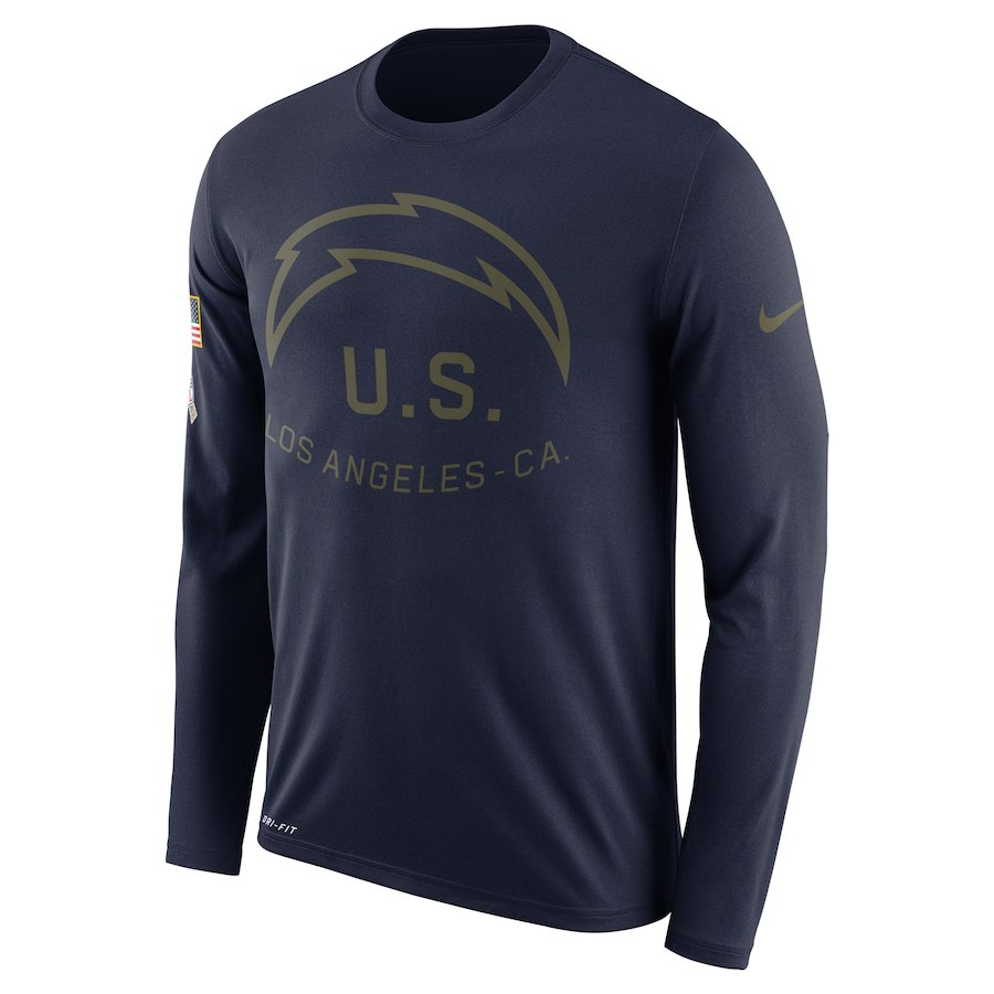 Los Angeles Chargers Nike Salute To Service Sideline Legend Performance Long Sleeve T-Shirt Navy