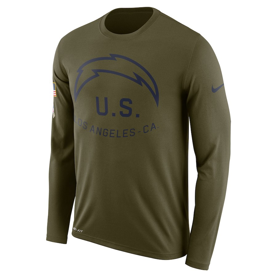 Los Angeles Chargers Nike Salute To Service Sideline Legend Performance Long Sleeve T-Shirt Olive