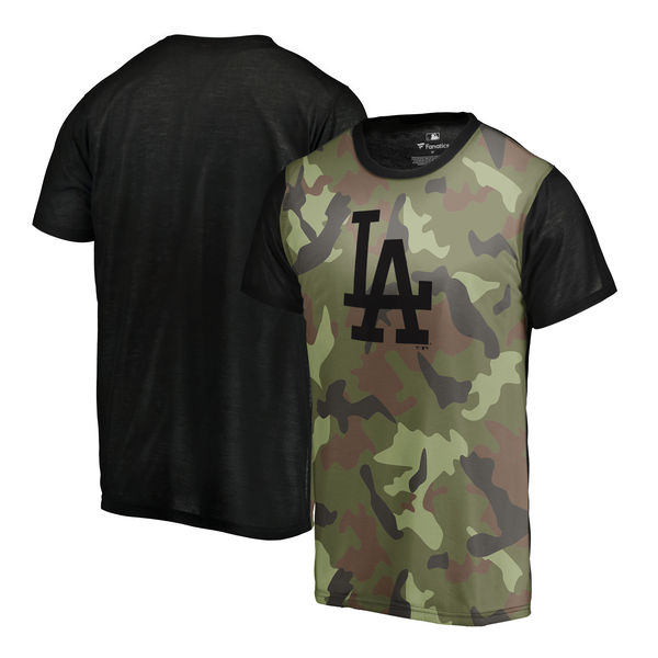 Los Angeles Dodgers Fanatics Branded Green 2018 Memorial Day Camo Blast Sublimated T Shirt