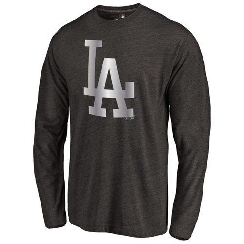 Los Angeles Dodgers Platinum Collection Long Sleeve Tri-Blend T-Shirt Black