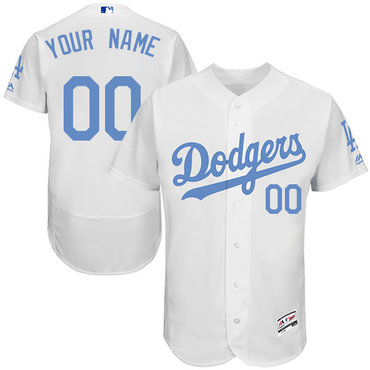 Los Angeles Dodgers White Father's Day Men's Flexbase Customized Jersey