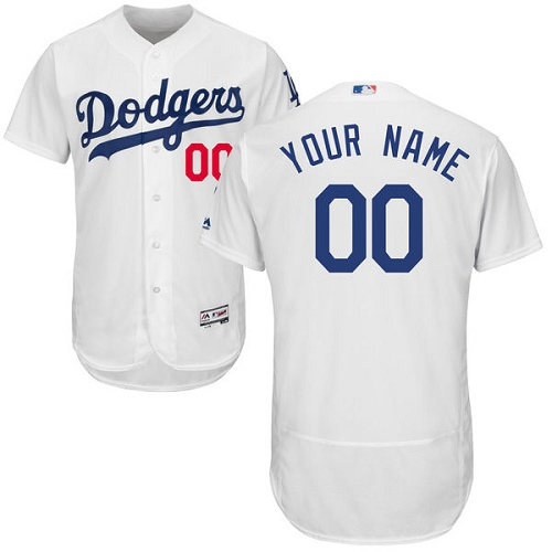 Los Angeles Dodgers White Men's Flexbase Customized Jersey