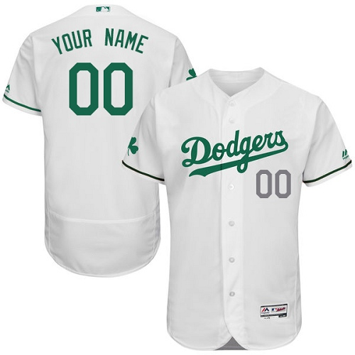 Los Angeles Dodgers White St. Patrick's Day Men's Flexbase Customized Jersey