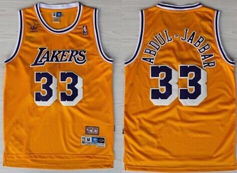 Los Angeles Lakers #33 Kareem Abdul-Jabbar Yellow Swingman Throwback Jersey