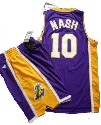 Los Angeles Lakers 10 Steve Nash Purple Revolution 30 Swingman NBA Jersey & Shorts Suit