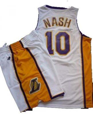 Los Angeles Lakers 10 Steve Nash White Revolution 30 Swingman NBA Jersey & Shorts Suit
